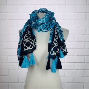 NWT Crown & Ivy Blue/Black/White Tassel Scarf